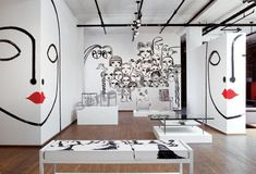 Design/ mural wall art, black and white interior, white interior design, . Black And White Interior, White Interior Design, Interior Walls, Interior And Exterior, Studio Interior, Black And White Design, Interior Modern, Black White, Deco Design