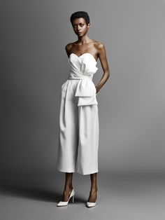 viktor and rolf spring 2019 bridal strapless sweetheart neckline simple minmalis. viktor and rolf spring 2019 bridal strapless sweetheart neckline simple minmalist elegant modern jumpsuit wedding dress mv Wedding Dress With Pockets, Perfect Wedding Dress, What To Wear To A Wedding, How To Wear, Wedding Dress Trends, Wedding Suits, Wedding Dresses, Viktor & Rolf, Wedding Jumpsuit