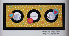 """2016  Stamps:  Love You Lots (Hostess) Paper: Basic Black, Melon Mambo, Pumpkin Pie and Tempting Turquoise Cardstock,  Festive Birthday Designer Series Paper, Ink:  Basic Black Archival, Melon Mambo and Pink Pirouette Stampin' Write Markers Punches:  1-1/4"""" and 2"""" Circle,  7/8"""" Scalloped Circle (retired) Accessories:  Adhesive Strips, 1/4"""" Adhesive Dots (Non- SU), Brights Enamel Shapes, pennies"""