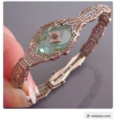 Art Deco PERIDOT Camphor Glass Crystal FILIGREE Sterling Silver Signed Bracelet x- Tap the link now to see our super collection of accessories made just for you! Art Deco Jewelry, I Love Jewelry, High Jewelry, Jewelry Gifts, Jewelery, Jewelry Bracelets, Bangles, Handmade Jewellery, Gold Jewellery