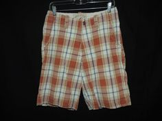 Hollister Men's Flat Front Plaid Checked 4 PKT Casual Shorts Tag Size 28  ACT:30 #Hollister #BermudaShorts