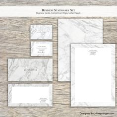 Chic White Marble Stationary Set (100 Business Cards, 100 Letter Heads, 100…