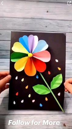 Flower Crafts Kids, Paper Flowers For Kids, Easy Arts And Crafts, Mothers Day Crafts For Kids, Diy Crafts For Gifts, Paper Crafts For Kids, Creative Crafts, Preschool Crafts, Simple Paper Crafts