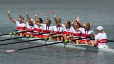 Canada's women's eight rowing team members celebrate their silver medal win at the London Olympics.
