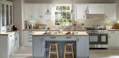Stamford Snow and Cornflower   Wood Farm Kitchens.  nice solid wood painted cabinets, lovely colours