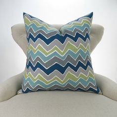 Navy Gray Green Pillow Cover MANY SIZES Zigzag by DeliciousPillows