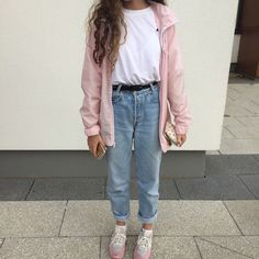 light pink jacket ~ light-wash jeans ~ black belt ~ white t-shirt ~ and white and light pink shoes