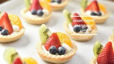 Sugar Cookie Fruit Tarts with a Cheesecake Filling - Oreo Desserts - Sugar Cookie Cups, Sugar Cookie Dough, Sugar Cookies Recipe, Cookie Recipes, Fruit Tart Recipes, Healthy Fruit Tart Recipe, Fruit Cookie Recipe, Homemade Sugar Cookies, Fudge Recipes