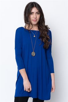 Look at this Royal Drop-Shoulder Tunic by Caralase Online Clothing Stores, Dresses Online, Tunics For Sale, Basic Leggings, Basic Tops, Everyday Look, Casual Chic, Style Me, Cold Shoulder Dress