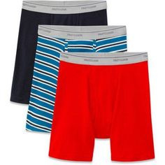 Fruit of the Loom Men's Stripes and Solids Boxer Briefs, 3-Pack, Size: XL, Assorted