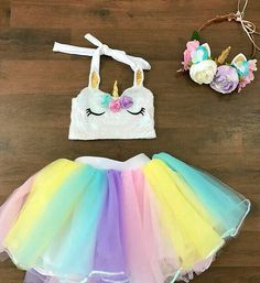 Girls' Clothing (Sizes 4 & Up) Kids Baby Girls Princess Tutu Tulle Skirt Dress Costume Dancewear Party Birthday Rainbow Tutu, Rainbow Unicorn, Unicorn Face, Unicorn Crop Top, Unicorn Birthday Parties, Girl Birthday, Baby Birthday, Diy Unicorn Party, Unicorn Crafts