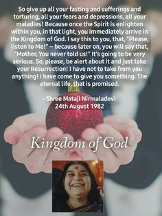 Sahaja Yoga Meditation, Shri Mataji, Self Realization, Best Resolution, Spiritual Gifts, The Kingdom Of God, Ganesha, Spirituality, Sayings