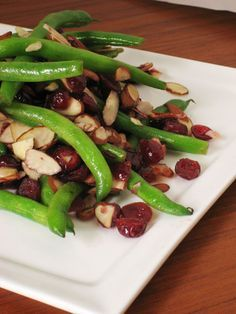 Green beans with cranberry and almonds. Great side dish for Thanksgiving or Christmas Dinner.