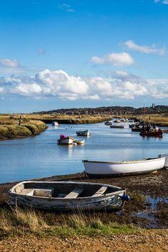 Boats at Blakeney on the coast of Norfolk, England Norfolk Beach, Norfolk Coast, Cromer Norfolk, Norwich England, Norfolk Holiday, British Seaside, British Isles, Norfolk Broads, Norfolk Island