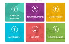 Each service category, each colora and icon