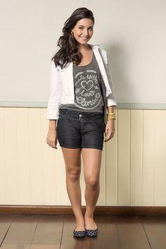 M2A Jeans | Fall Winter 2014 | Teen Collection | Outono Inverno 2014 | Coleção juvenil | peças | bermuda jeans feminina; blusa cinza feminina; jaqueta branca feminina; jeans; demin.