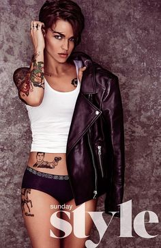 Ruby Rose...why is she awesome? Among many reasons, she has an Archer tat lol. Only way she could be any cooler is if she got a bobs burgers tattoo : )