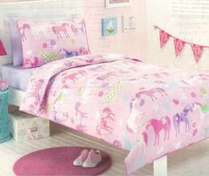 PONY PARK HORSES PINK GIRLS SINGLE TWIN Bed QUILT DOONA COVER SET NEW