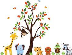 Jungle Animals Wall Decals-Jungle Animal Wall Decals with Tree Giraffe Lion Zebra Elephant Birds, boys room wall decals stickers, girls boys room wall decor, nursery room decor, baby room wall decor | Bebe Diva