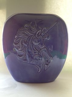 Vintage Unicorn Vase in Blue Ceramic Signed by kraftskeepmesane, $15.00