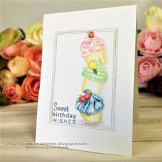Here's a cute cupcake birthday card full of sugar frosting that I made for the Less is More challenge which is all about sweet things on a one layer card.