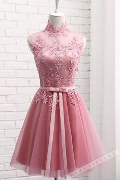 tulle lace applique high neck see-through short prom dresses,homecoming dress from Girlsprom Cute pink tulle lace prom dress, homecoming dress, prom dresses for teens Prom Dresses Under 100, Formal Dresses For Teens, Cute Prom Dresses, Elegant Prom Dresses, Prom Dresses 2018, Evening Dresses, Sexy Dresses, Dress Prom, Summer Dresses