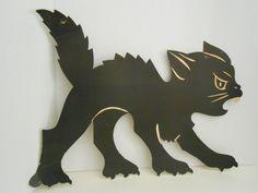 vintage Halloween die cut  huge big black cat by RogueMercantile on Etsy https://www.etsy.com/listing/243015552/vintage-halloween-die-cut-huge-big-black
