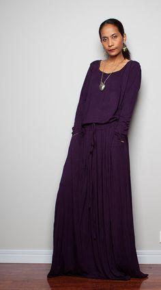 Deep Purple Maxi Dress   Long Sleeve dress  Autumn by Nuichan, $59.00