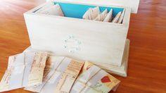Caja de té en hebras en saquitos piramidales. Sobre individual.