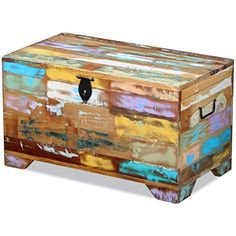 vidaXL Solid Reclaimed Wood Storage Chest Box Trunk Coffee Side Couch Table for sale online Painted Trunk, Couch Table, Trunks And Chests, Into The Woods, Diy Holz, Home Decor Shops, Recycled Wood, Diy Wood Projects, Furniture Making