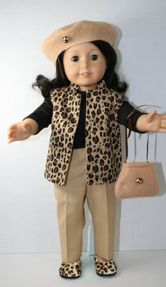 Outfit in beige colors for American Girl doll byKathiesDollCloset