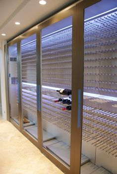 Wine cellar for the section in the butler's pantry across from the pantry.  Love the stainless and the lighting.