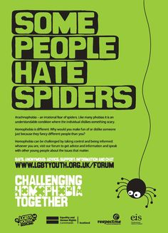 Some People Hate Spiders!  LGBT Youth Scotland strives for an end to homophobia and homophobic bullying in Scottish schools. Our research showed that many LGBT young people experience bullying at school and that this can lead to low educational attainment, low confidence and self-esteem, self-harming behaviour as well as increased suicide risk.  To tackle these issues we've developed a toolkit for teachers and provide training for school staff.