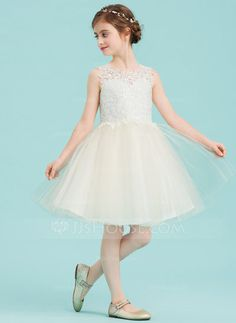[US$ 65.29] A-Line/Princess Knee-length Flower Girl Dress - Tulle/Lace Sleeveless Scoop Neck With Lace