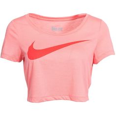 Nike Swoosh Crop Top ($37) ❤ liked on Polyvore featuring tops, shirts, crop tops, nike, sports fashion, sunblush, womens-fashion, sport shirts, nike shirts und red short sleeve shirt
