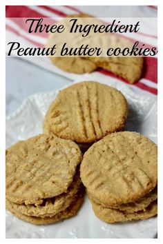 Three ingredient peanut butter cookies - gluten free and dairy. Three ingredient peanut butter cookies - gluten free and dairy free! One of the easiest cookie recipes ever! Easy Cookie Recipes, Dessert Recipes, Cheesecake Recipes, Easiest Cookie Recipe, Bar Recipes, Shrimp Recipes, Family Recipes, Paleo Recipes, Free Recipes