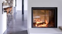 Stuv 21 - 75 double sided Inset Fireplace, Stove Fireplace, Fireplace Design, Double Sided Stove, Inset Stoves, Stove Installation, Kitchen Dining Living, Log Burner, Interior Design Inspiration