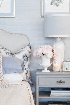Grey nailhead headboard and silver and grey nightstand