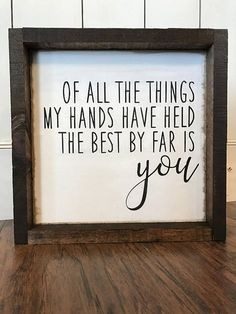 Hand stenciled wood sign. Measuring approximately 12x12x1.5 Background is a slightly distressed white, words are stenciled black and frame is a dark walnut stain. This farmhouse style sign is designed to sit on a shelf/countertop/table but you could easily add a sawtooth hanger to the