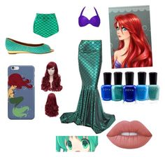 """my favorite mermaid"" by tamezra ❤ liked on Polyvore featuring Disney, Lime Crime and Zoya"