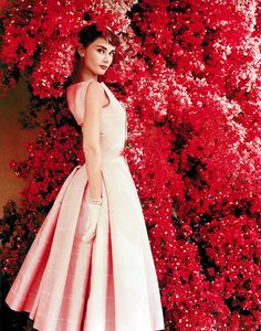 audrey hepburn pink dress - Google Search Love this dress so elegant want to live in an age where wearing beautiful clothes all the time was the norm.