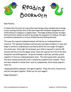 reading bookworm to motivate reading log homework