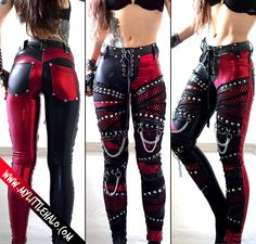 Gothic pants made with a mix of red and black metallic spandex with the left leg predominantly in red and with black for the right leg.Front thoroughly decorated with black PVC, black fishnet Punk Outfits, Gothic Outfits, Fashion Outfits, Alternative Mode, Alternative Fashion, Dark Fashion, Gothic Fashion, Fashion Top, Gothic Pants
