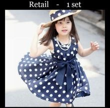 Retail Hot girls dresses summer  1pcs  2color 3~11Age  Children clothing(China (Mainland))
