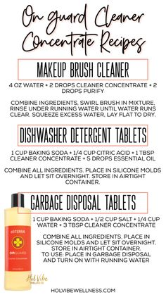 On Guard Cleaner Concentrate Recipes - DIY All Natural Cleaner Recipes Natural m. - On Guard Cleaner Concentrate Recipes – DIY All Natural Cleaner Recipes Natural makeup brush clean - Make Up Palette, Doterra Essential Oils, Essential Oil Blends, All Natural Cleaners, Essential Oils Cleaning, How To Clean Makeup Brushes, Dishwasher Detergent, Oil Uses, Wellness