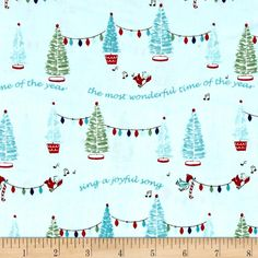 Riley Blake Pixie Noel Trees Aqua from @fabricdotcom  Designed by Tasha Noel for Riley Blake Designs, this cotton print collection is perfect for bringing a pastel and retro look to your christmas quilts, apparel, and home decor accents. Colors include aqua, green, white, red, and navy accents.