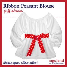Our Rags Land Long Sleeve Dots Ribbon Peasant Blouse!  Show Now at www.ragsland.com