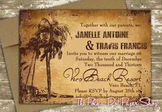 Antiqued Destination Wedding Invitation with by InvitationsbyJenna