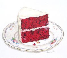red velvet cake on a vintage saucer drawing
