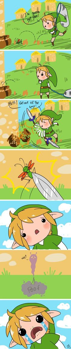 Whyyyy?!?! I remember when this happened for the first time; I accidentally pulled out the sword instead when I meant for the net, and I swung at a butterfly....then his soul had these cute little antenna ToT I'M SORRY MR. BUTTERFLY.